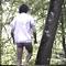 mec en randonnue rencontré dans les bois