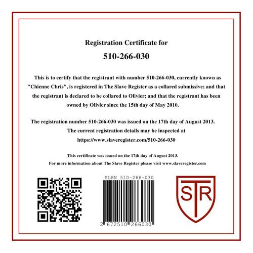 Certificat d'enregistrement de ma chienne